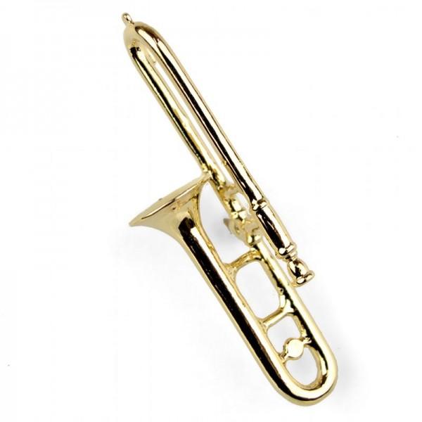 Pin para poner en la solapa, de color dorado y modelo musical de Trombón. Caja incluida.