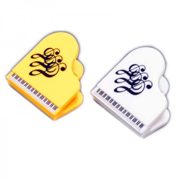 Pinzas magnéticas con forma de piano y decoración de Clave de Sol. Disponibles en 2 colores.