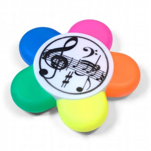 5 marcadores fluorescentes en forma de flor y con decoraciones musicales