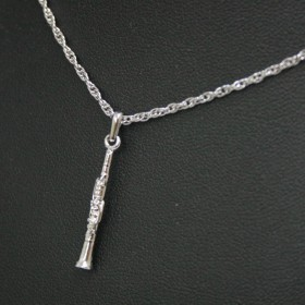 3D Silver Clarinet pendant