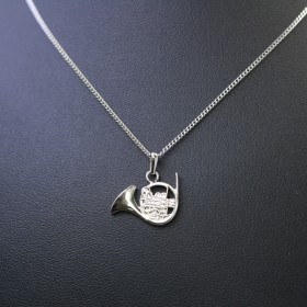 Silver French Horn pendant
