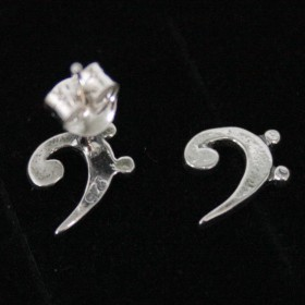 Bass clef mini earrings, sterling silver