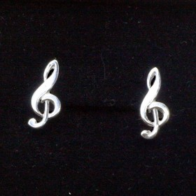 Treble Clef Pendant and Mini Earrings (Sterling Silver)