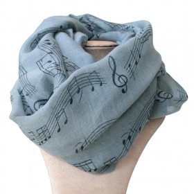 Grey scarf,musical notes