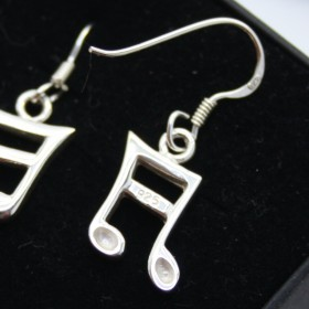 Semiquaver 3D earrings french hook (sterling silver)