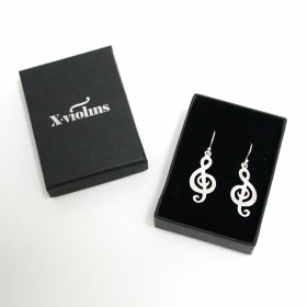 Treble Clef Earrings (Sterling Silver matte finish)
