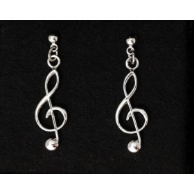 G-key silver earrings