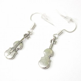 Violin earrings, antique silver