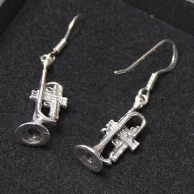 Sterling Silver Trumpet Earrings