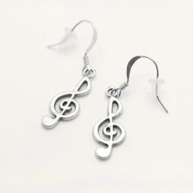 G-key earrings, silver