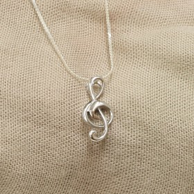 Treble Clef 3D Pendant (Sterling Silver)