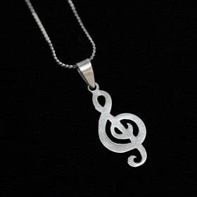 Treble Clef Pendant (Sterling Silver matte finish)