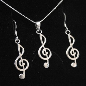 Treble clef earrings and pendant 2 (sterling silver)