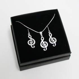 Treble Clef Earrings & Pendant (Sterling Silver matte finish)