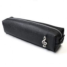 Treble Clef Pencil Case, black and square