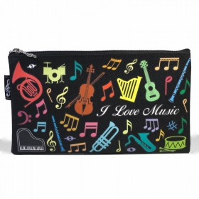 Multicolored musical instruments pencil case