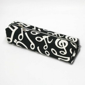 Music notes black pencil case