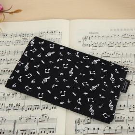 Music notes pencil case. Black Nylon