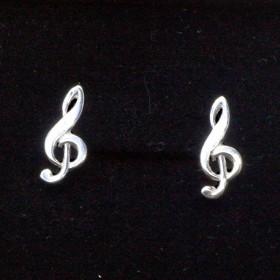 G-key mini earrings, sterling silver