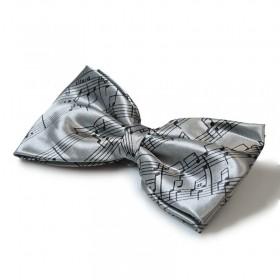 Grey Score Bow Tie