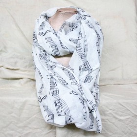 White scarf,musical notes