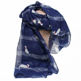 Blue scarf, cats and musical notes