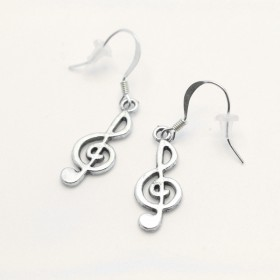 G-key earrings, silver