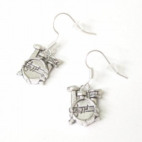 Drums earrings, antique silver