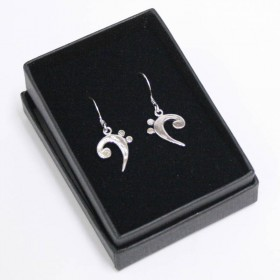 Bass clef earrings, sterling silver