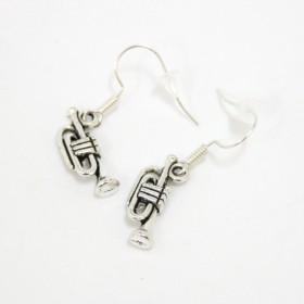 Trumpet earrings, antique silver