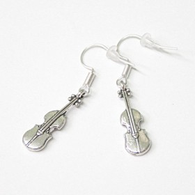 Violin earrings, antique silver
