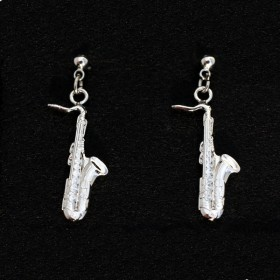 Sax shape silver earrings