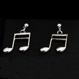 Semi-quaver silver earrings