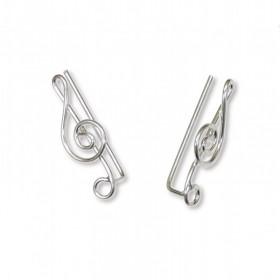 Treble Clef Ear Climbing Earrings (sterling silver)