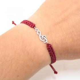 Treble Clef bracelet sterling silver bordeaux