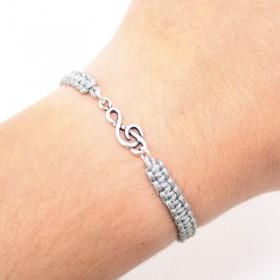 Treble Clef bracelet sterling silver grey