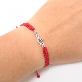 Treble Clef bracelet sterling silver red