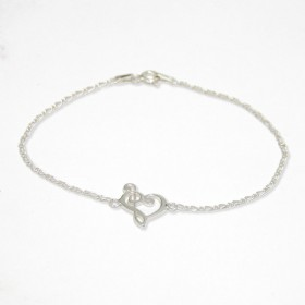 Heart Treble and Bass Clef bracelet sterling silver