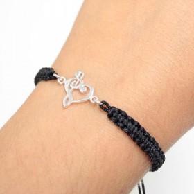 Heart Treble and Bass Clef bracelet sterling silver black