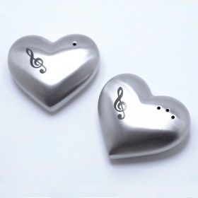 Stainless steel heart shape salt and pepper