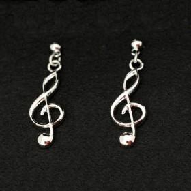 G-key silver earrings
