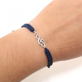 Treble Clef bracelet sterling silver blue navy