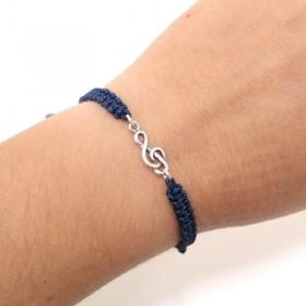 Treble Clef bracelet sterling silver blue navy