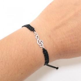 Treble Clef bracelet sterling silver black